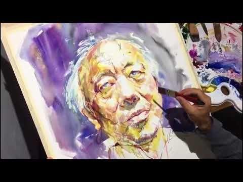 Watercolor Portrait Painting Demo Artist Atanur Dogan Model