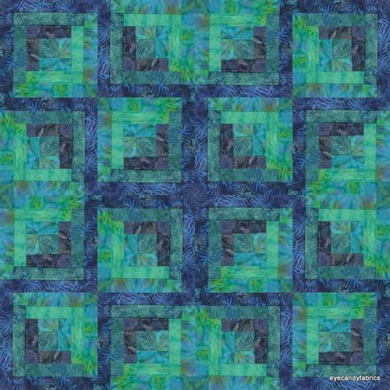 16 Block Log Cabin Pre Cut Quilt Kit Pacific Nights 2