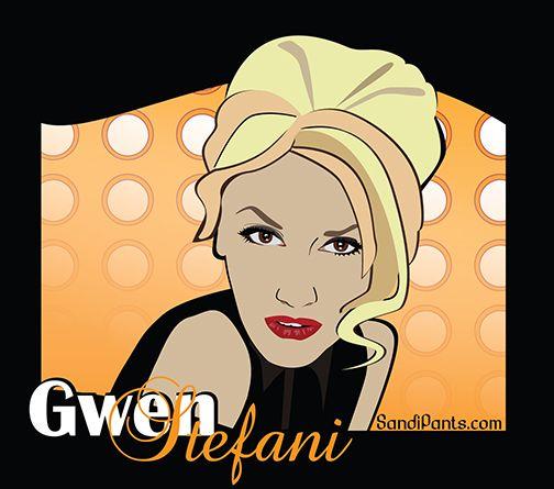 newer Gwen Stefani portrait/caricature by Sandi Fender - adobe illustrator - sandipants.com