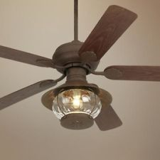 Cabin Ceiling Fans With Lights: 52 inch Rustic Indoor Outdoor Porch Ceiling Fan with Light Kit Brown Finish,Lighting