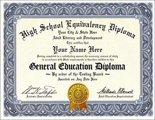 Amazon Com Ged Diploma General Education Diploma Novelty High School Equivalency Diplo In 2020 High School Equivalency Free High School Diploma High School Diploma