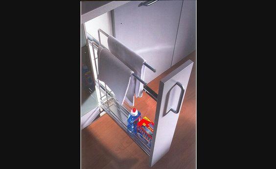 Panier coulissant avec porte serviettes pour armoires de - Panier de rangement pour armoire ...