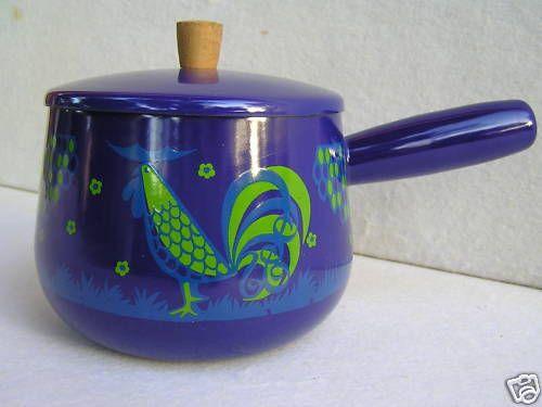 Blue Rooster Enamel Saucepan