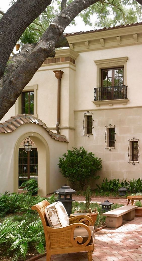 Stucco exterior copper and tile on pinterest for Mediterranean stucco