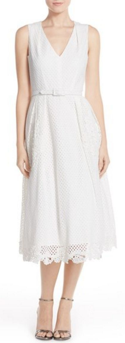 Simple White Lace Belted Midi-Dress