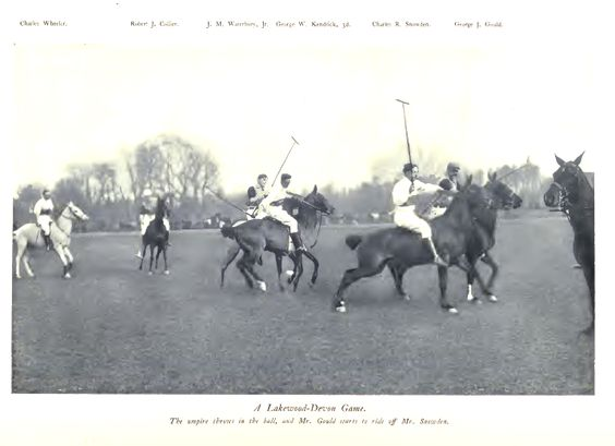 POLO: Horse polo match between two Eastern teams, c. 1903. Polo and Lawn Tennis were two sports reserved for the wealthy.