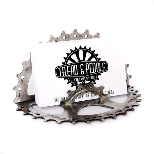 This Bike Cog Business Card Holder has been handcrafted in the Tread & Pedals Upcycling Studio from recycled bicycle parts, it makes the perfect gift for cyclists.
