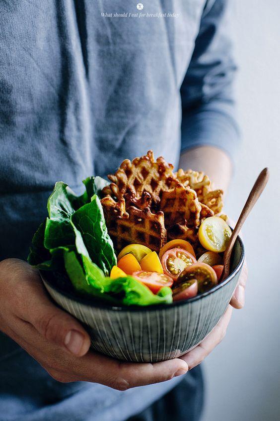 Savory Waffle Blue Cheese Bacon Salad   34 Life-Changing Ways To Eat Waffles