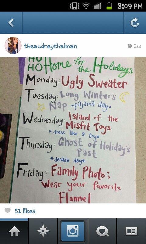 Winter spirit Week ideas.