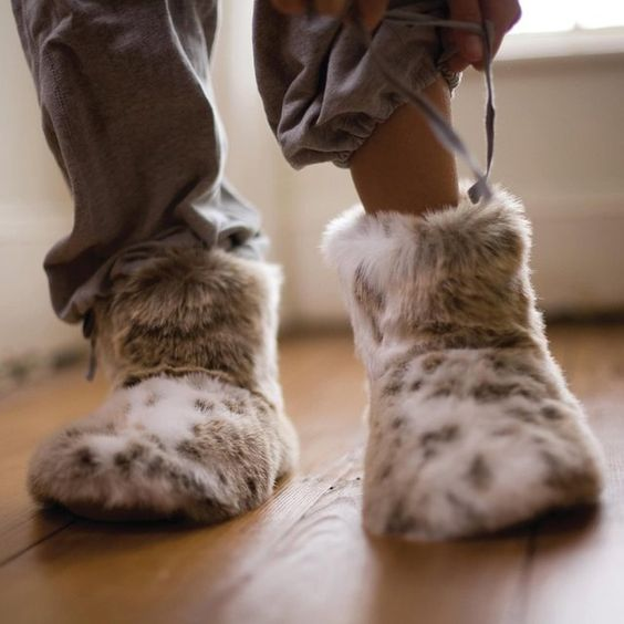 Faux Fur Slipper Boots in Lynx  - Accessories