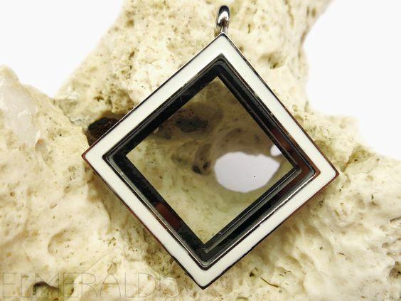 Bild 2 30mm Medaillon Edelstahl viereckig silberfarben