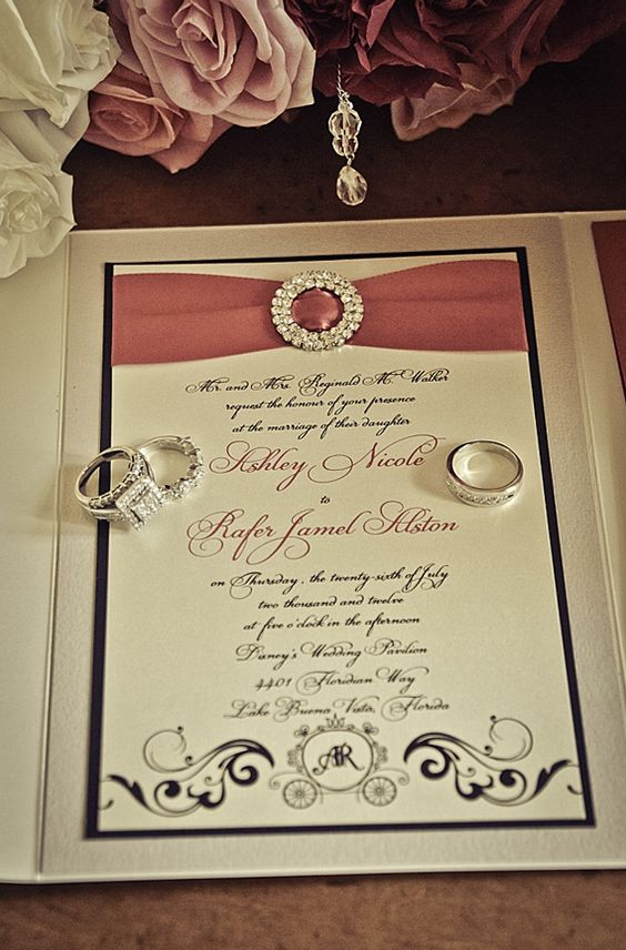 The couples jeweled wedding invitation set the tone for their