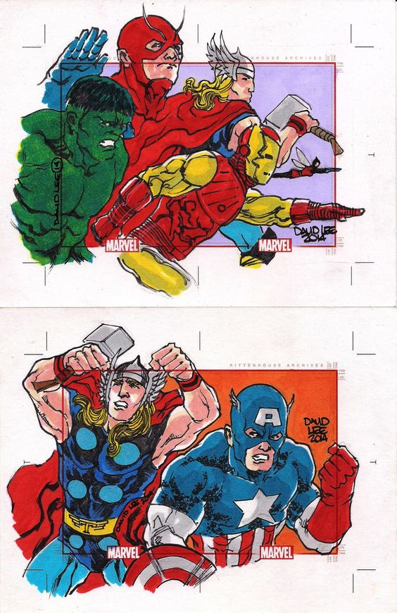 Marvel 75 Years, Sketch cards (Rittenhouse Arquives/Marvel Comics, 2014). Os Vingadores dos anos 1960.