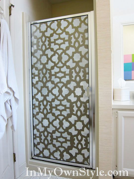 Stenciling the shower stall door - great way to spruce up an old shower door!: Door Stencil, Diy Shower Door, Shower Doors, Bathroom Ideas, Home Bathroom, Stenciled Shower