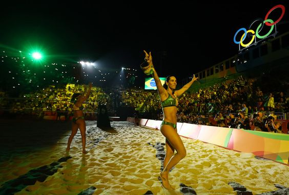 Agatha Bednarczuk Rippel of Brazil and Barbara Seixas de Freitas of Brazil wave to the crowd before the Beach Volleyball Women's Gold medal match against Laura Ludwig of Germany and Kira Walkenhorst of Germany on day 12 of the Rio 2016 Olympic Games at the Beach Volleyball Arena on August 17, 2016 in Rio de Janeiro, Brazil.