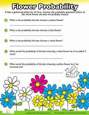 Fourth Grade Probability Fractions Worksheets: Probability Practice: Flowers