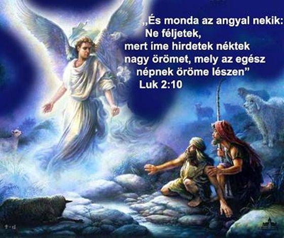 """""""És monda az angyal nékik: Ne féljetek, mert ímé hirdetek néktek nagy örömet, mely az egész népnek öröme lészen...""""  (Lukács 2:10,)"""