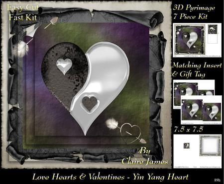 Love Hearts Valentines Yin Yang Heart 89h Tag on Craftsuprint - Add To Basket!