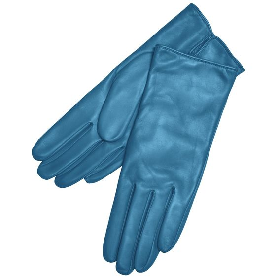 Grandoe Classique Leather Gloves - Cashmere Lining (For Women) in Blue Sea