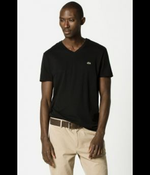 Lacoste Short Sleeve V-Neck - Black - The Blues Jean Bar the Best
