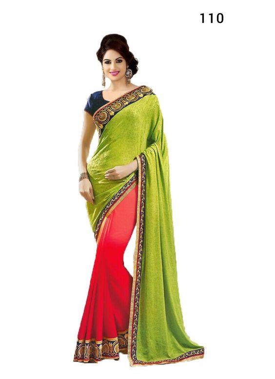 Designer Saree: Rs.1850 +Shipping http://www.thefirstbazaar.com/product/tfb-wedding-wear-designer-green-pink-saree-110/ #fashion #india #women #thefirstbazaar #saree #designersaree