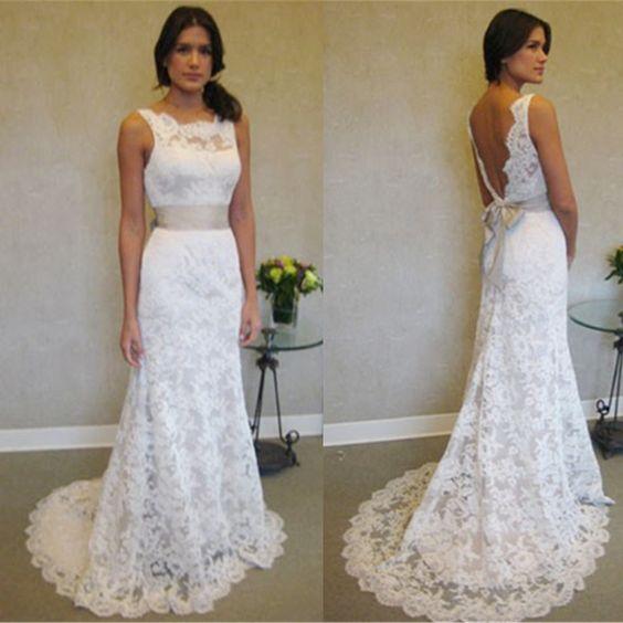 Elegant Wedding Dress Open Back : Wedding sleeveless dresses white gown