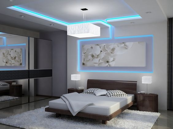 indirekte led deckenbeleuchtung schlafzimmer blau weiß ...