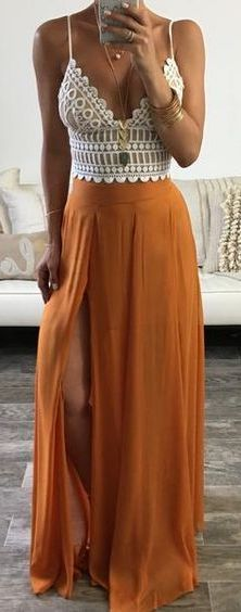 #summer #outfits / lace top + slit maxi skirt