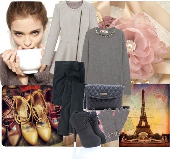 """""""Pink and Grey"""" by helenevlacho ❤ liked on Polyvore"""