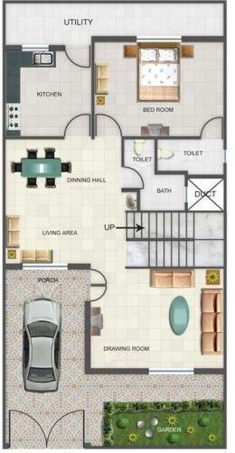 Duplex Floor Plans   Indian Duplex House Design   Duplex House Map ...