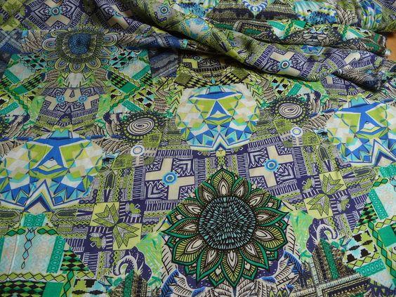 Viskose, grafisches Muster, Blau, Grün, Meterware, Stoff, Stoffe