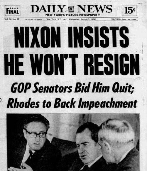 Watergate Nixon 1974 New York Daily News Resignation Watergate