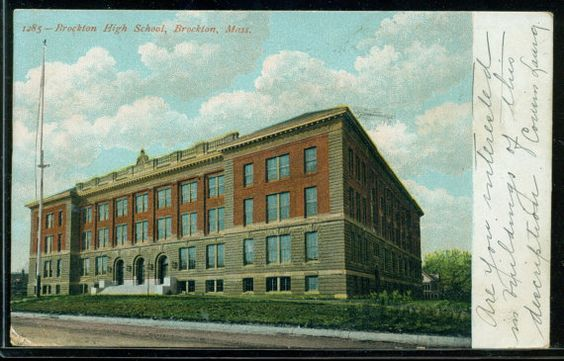 Brockton, Massachusetts - Brockton High School - Antique Postcard Postmarked 1907