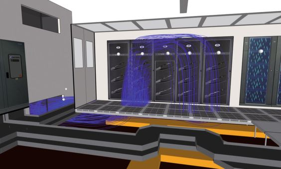 Bild 3: Der Normalbetrieb in einem Rechenzentrum mit laufenden Kühlaggregaten (ACU)