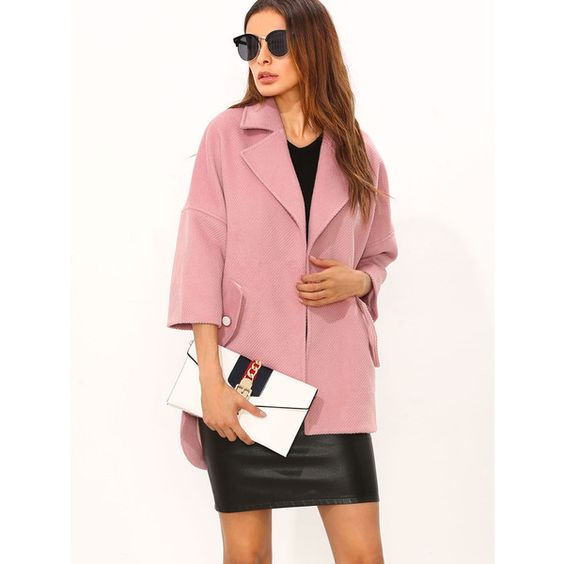 SheIn(sheinside) Pink Drop Shoulder Hidden Button High Low Textured... ($20) ❤ liked on Polyvore featuring outerwear, coats, drop shoulder coat, cropped coat, textured coat, pink coat and collar coat