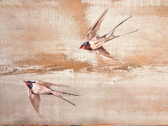 Barn Swallows on antique reclaimed barn board by Katherine Hallam . For sale.