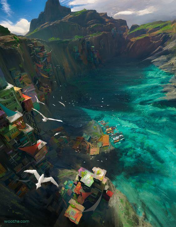 Fishing port, Stéphane (Wootha) Richard on ArtStation at https://www.artstation.com/artwork/fishing-port-1