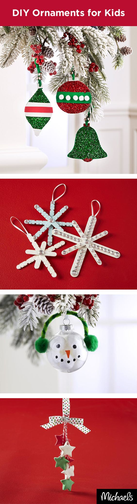 Diy ornaments craft foam and craft sticks on pinterest for Christmas trees at michaels craft store