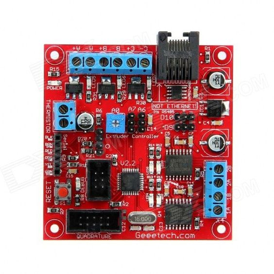 Geeetech Extruder 2.2 ATmega168 Controller Board - Red. 1. Onboard atmega168 - program it just like an Arduino because it is an Arduino. 2. 3 x MOSFET drivers for controlling up to 14A @ 12V. Perfect for heaters, fans, solenoids, etc. 3. 2 x H-Bridges capable of up to 2A each. Control 2 motors, or control one stepper motor. 4. A temperature sensor circuit for reading the standard 100K thermistor. 5. RS485 connection for noise-free communications with the motherboard. 6. IDC header for…