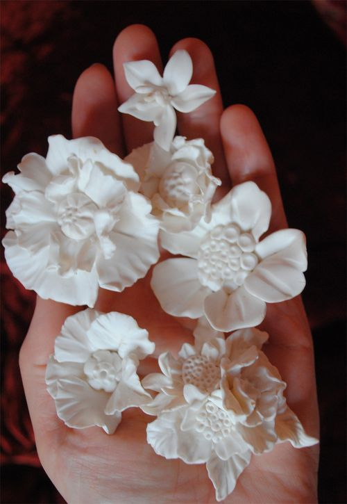 love these white clay flowers!