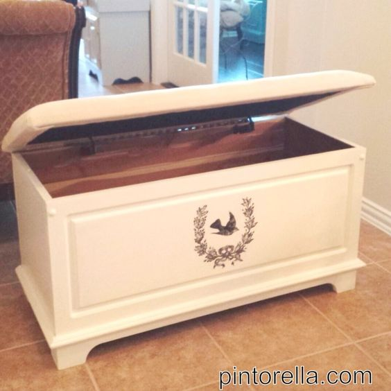 Painted Cedar Chest With Birdie Stencil Painted