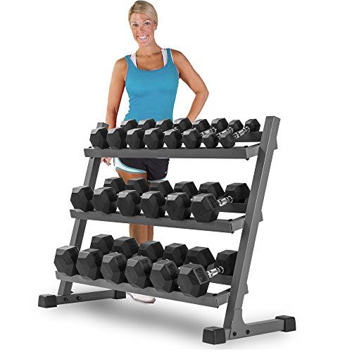 Keep your dumbbells organized, safe, and at the ready with the XMark Fitness 4ft Dumbbell Rack White, 3 Tiers for 5-50 Lbs. This gym accessory is constructe