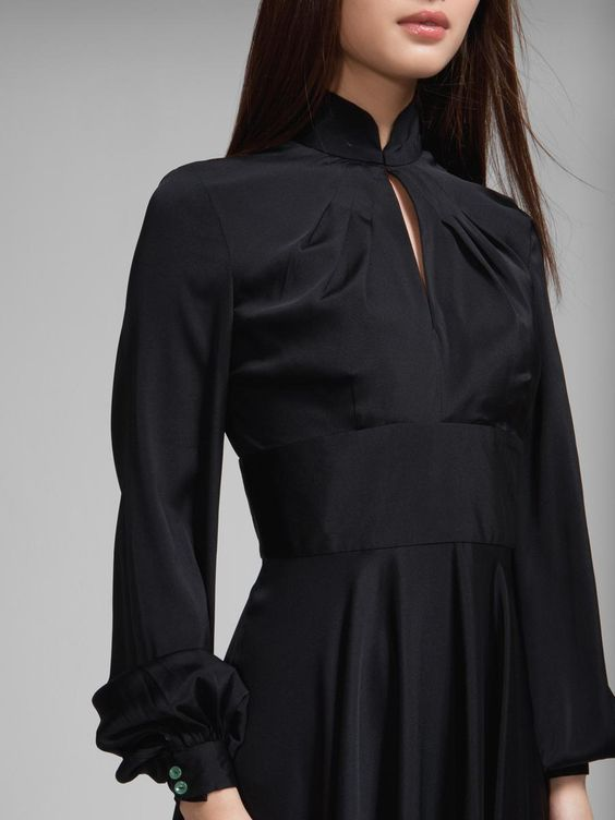 Silk long sleeves flare dress By Shanghai Tang