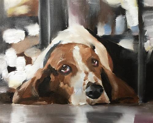 "Daily+Paintworks+-+""Basset+Hound""+-+Original+Fine+Art+for+Sale+-+©+James+Coates"