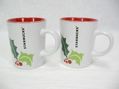 Set of 2 Starbucks Cups 2011 Holiday Christmas Holly Berries Red 9 Ounces