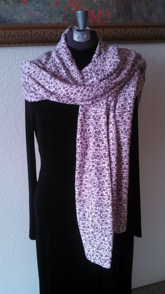 """SuZQ's Super Scarf! * Pink & Black Floral * 21"""" X 72"""" * Versatile! * Long Scarf or Shawl *"""