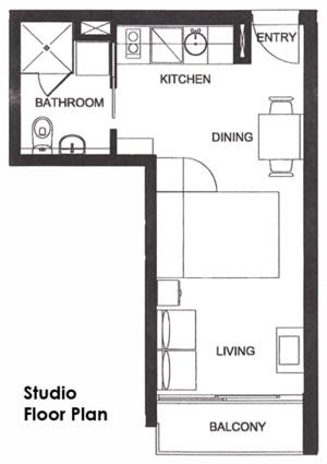 studio floorplan bed is a pull down murphy bed opening up