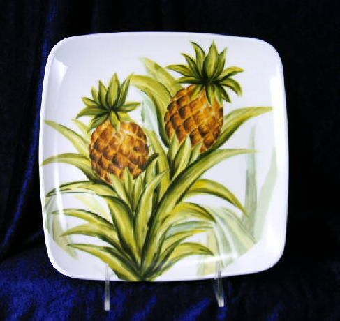Pineapple Dishes   Details About Tabletops Gallery Tropical Pineapple (2)  Plates NEW!