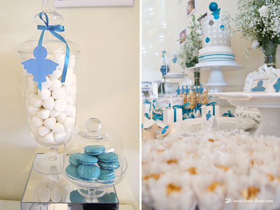 white and petrol blue for this angel themed baptism
