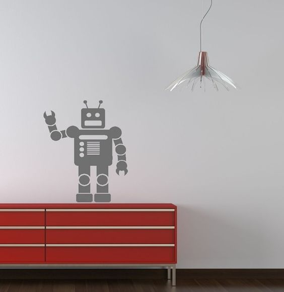 The robot vinyl decal set measures approximately 23x31. The decal is available in your choice of our available colors. (Please note colors may